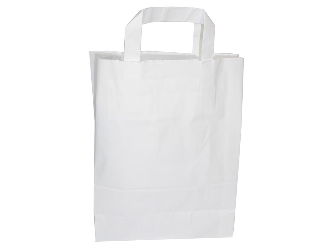 Pz 50 Buste Kraft Bianche In Carta 22x10x28 Cm Shopping Bags Con Manico