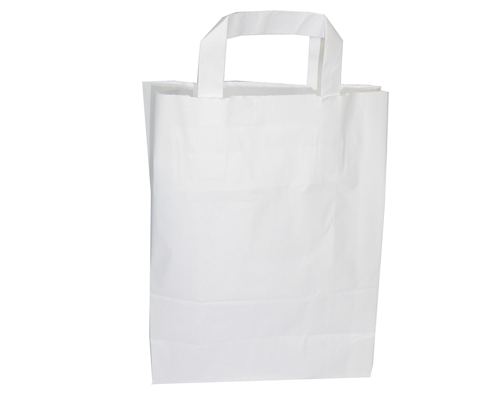 Pz 50 Buste Kraft Bianche In Carta 18x8x22 Cm Shopping Bags Con Manico
