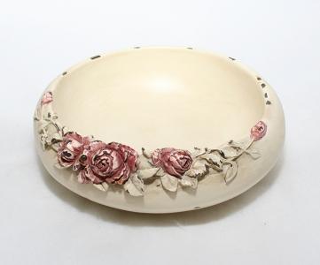 Ciotola Shabby Avorio Con Rose Diametro 19 Cm