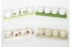 Bicchierini Decorati Con Base In Legno 4 Pz