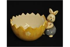 Coniglietto Porta Uovo Ceramica Lucida