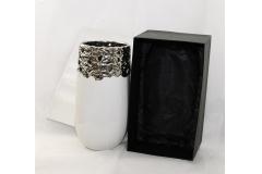 Cachepot Con Scatola In Ceramica Bianco/argento Modello Zama 20x38 Cm