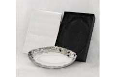 Piatto Con Scatola In Ceramica Bianco/argento Modello Zama 45x29x7 Cm