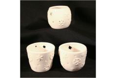 Tris Vasetti Forati Porta Tealight Ceramica
