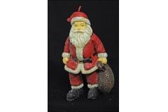 Candela Natalizia Decorativa Santa Claus Big Glitterata 18x10 Cera