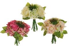 Bouquet Ortensia Rosa Succulenta 25 Cm Fiori Artificiali Composizione
