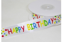 Nastro Doppio Raso Happy Birthday Mm 25 X 25 Yds