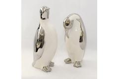 Pinguino Grande In Ceramica Bianca Argento 10x30 Cm