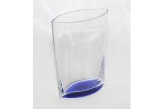 Vaso In Vetro A Base Blu Alto 20.5 Cm Largo 16.5x8.5 Cm