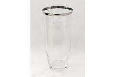 Vaso Di Cristallo Trasparente Bordato Argento 14x30 Cm