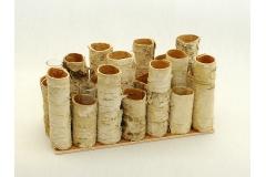 Gruppo Da 21 Cilindri In Betulla Con 6 Fialette 20x9x10 Cm
