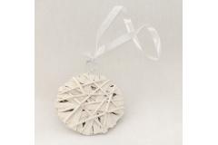 Medaglione Intrecciato Bianco In Legno Diametro 10 Cm