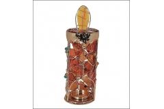 Candeliere Candela Metallo E Vetro Ambrato Tealight Lumino