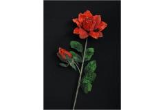 Modellabile Ramo Rosa Bocciolo Organza 75 Cm Bordata Oro