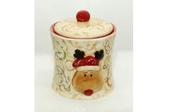 Biscottiera Renna In Ceramica Dipinta A Mano Diametro 13 Cm Altezza 16 Cm