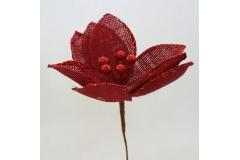Fiore Di Magnolia In Juta Rossa Glitterata