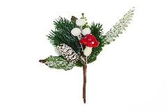 Pz 12 Pick Pino Pigna Fungo Innevato Artificiale H.18 Cm Decoro Natale