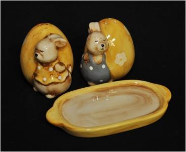 Set Saliera Pepiera Coniglietti Ceramica