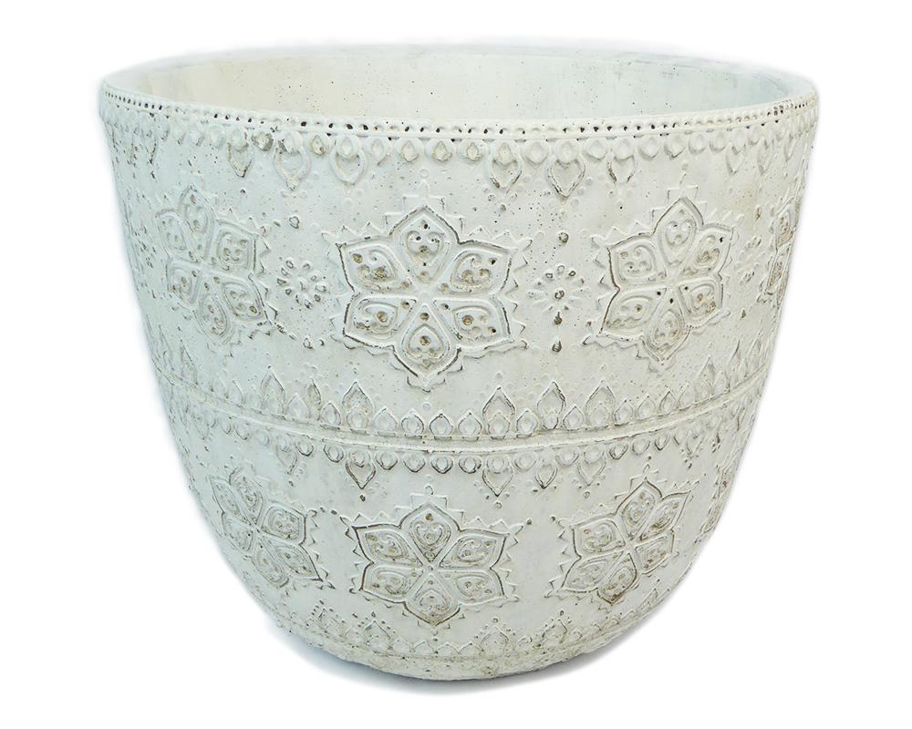 Vaso Bianco Rilievo D.29 H.25 Cm In Cotto Stile Barocco Arredo Decoro Wedding