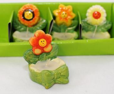 4 Candeline A Fiore In Ceramica