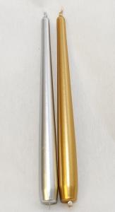 12 Candele Coniche Classiche Alte 25 Cm Diametro 23 Mm Oro Argento