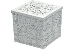 Scatola Metallo Bianco Lucido Quadrata Cm 12x12x15,5 Forata
