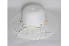 Cappello Bianco Di Paglia Con Decoro Mare Di Conchiglie 57 Cm