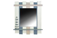 Specchio Mare Cornice Legno A Righe Bianco/Azzurro CM37X7H50