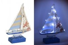 Barca Legno Luci Led 19x5xH.31 Cm Decorazione Arredo Linea Mare