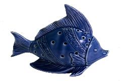 Decorazione Arredo Mare Pesce Ceramica Blu C/Led CM17,5X8H15,3