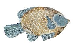 Pesce Legno Azzurro Medio 31 Cm Decoro Mare