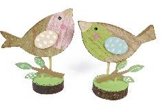 Pz 1 Uccellino Legno Colorato Cm 11,5x14 Decorazione Primavera Pasqua