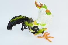 Galletto Piccolo Coda Verde Piumata 20 Cm Animale Decorativo Primavera