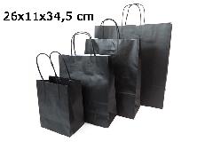 Pz 25 Shopper Carta Sealing Nera 26x11x34,5 Cm Confezionamento Regali
