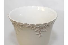Coppa In Ceramica Lucida Bianca Decorata 15x15 Cm