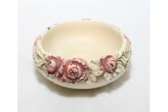 Ciotola Shabby Avorio Con Rose Diametro 13.5 Cm