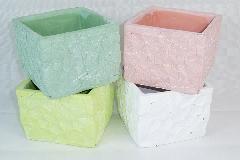Vaso Quadro GEO 12,5x12,5x10,5 Cm Di Gesso Colorato Sagomato