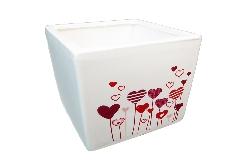 Cubo Cuori 10x10x10 Cm In Ceramica Contenitore Regalo San Valentino