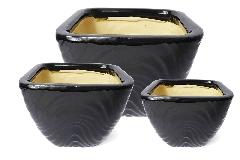 Portavaso Ceramica Onde Nero S/3 Quadro Contenitore Arredo