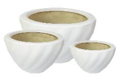 Portavaso Ceramica Onde Bianco S/3 Contenitore Arredo