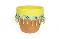 Vaso Peru Con Perline Medio D 9,5 H 12,5 Decorazioni E Addobbi