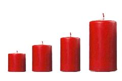 Cero Candela Laccato Rosso D.5 H.10 Cm Decorazione Arredo Natale