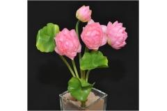 Fiori Bouquet Mazzetto Loto In Seta Con Foglie 30 Cm