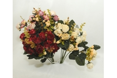 Bush Misto Di Violette Rose E Bacche A 7 Diramazioni Da 35 Cm