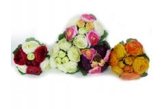 Bouquet Ranuncolo Con 9 Fiori Colorazioni Miste In Seta Artificiale