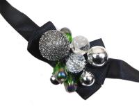 Laccio Collana Bracciale Perle Color Argento E Verdi Cangianti E Strass