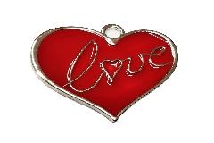 Ciondolo Cuore Metallo Rosso Love San Valentino Pz 12