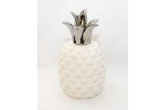 Ananas In Ceramica Bianco Argento Grande 14x25 Cm