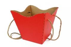 Portafiori Box Cartone Rosso Con Corda Pz 8 45x15x18,5