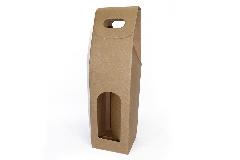 Pz 10 Scatola 1 Bottiglia Con Maniglia Avana In Cartone 9x9x38.5 Cm Regalo
